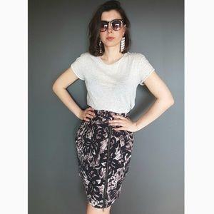 Banana Republic Print Skirt with Front Zip